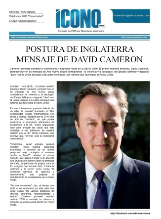 Mensaje Presidencial 2016 David Cameron