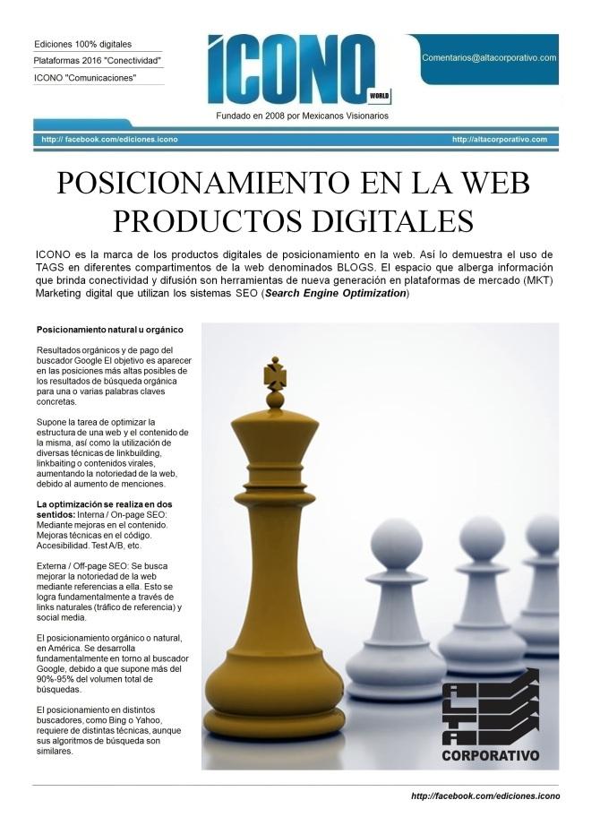 Productos Digitales de Posicionamiento 2016