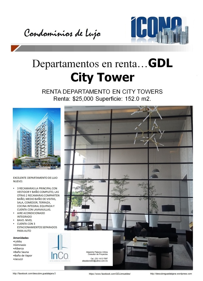 08 20 2016 GDL Inmuebles City Towers renta